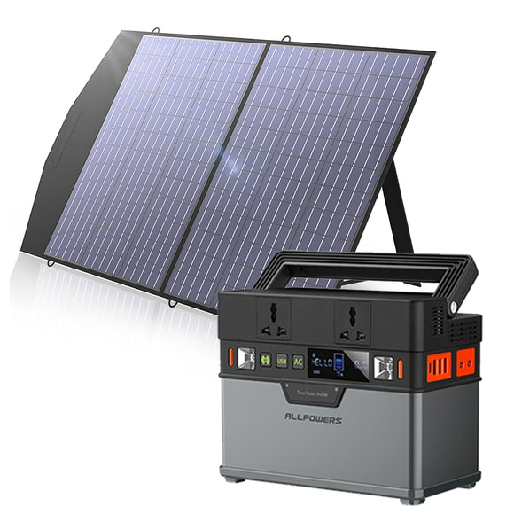 220V/110V Portable Power Station 372Wh Solar Generator Emergency Backup Power With 18V 100W Foldable Solar Panel Outdoor Camping - Mart Lion