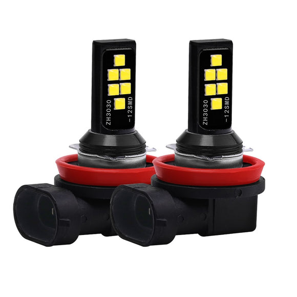 2PCs  H11 H8 H4 H1 H3 H7 9005 9006 3030 12SMD Chips Fog Light Car Driving Bulb Auto LED Canbus Lamp DRL Car Driving Running 12V  MartLion