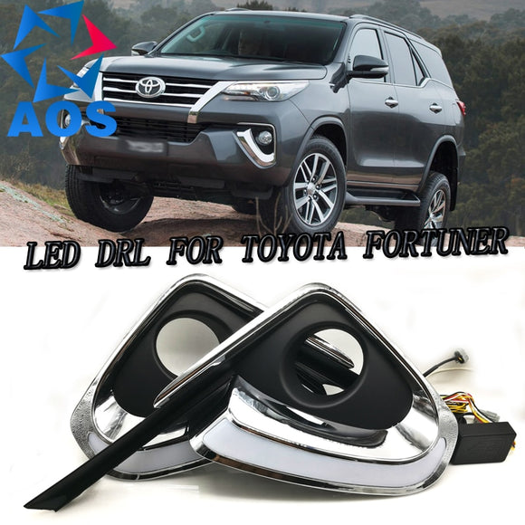 2PCs/set LED DRL Car daylight Daytime Running Lights DRL For Toyota Fortuner 2015 2016 free shipping 12V 6000K  MartLion