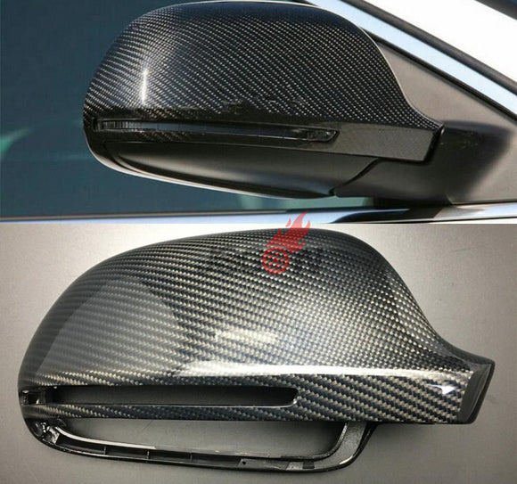 2pcs/set Carbon Fiber Replacement Side Wing Rear View Rearview Mirror Cover W/O side lane assist for Audi A8 A3 Q3 A4 B8 A5 A6  MartLion