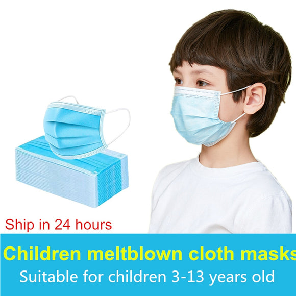 3-12 Years Child Masks 24h Fast Ship 3 Layer Anti-Dust Pollution For Kids Disposable Face  Masks Fabric Nonwoven Dustproof Mask