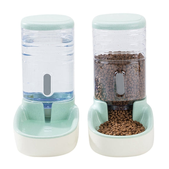 3.8L Two Styles Pet Automatic Feeder Small Size Large Capacity Cat Dog Water Feeder with Non-slip base Pet Food Container  MartLion.com