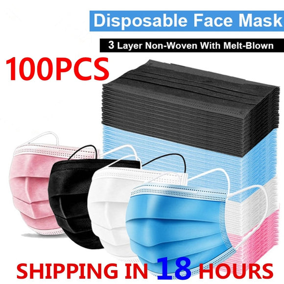 3 Layer Disposable Face Masks safe Breathable Dustproof Masks For Adult 3 ply nonwoven mouth Face Masks 10/50/100pcs