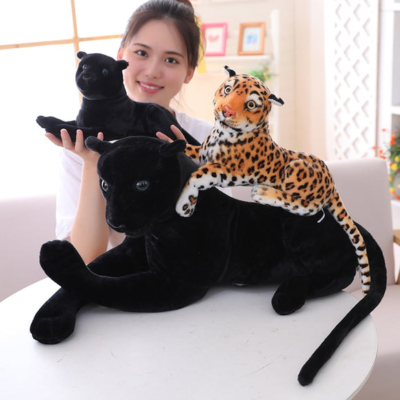 30-120cm Giant Black Leopard Panther Plush Toys Soft Stuffed Animal Pillow Animal Doll Yellow White Tiger Toys For Children  MartLion