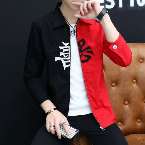 #3410 Black And Red Denim Jacket Men Zipper Casual Hip Hop Denim Jeans Jacket Coat Man Streetwear Bomber Coat Windbreaker  MartLion