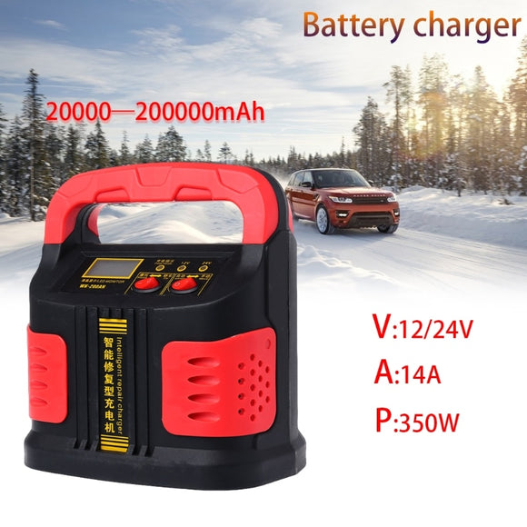 350W 14A AUTO Plus Adjust LCD Battery Charger 12V-24V Car Jump Starter Portable  MartLion