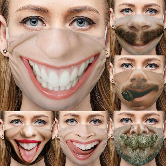 3D Horror Teeth Mouth Print Funny Cotton Mask Washable Windproof Reusable Mouth-muffle Face Mouth Mask Cosplay Party Outdoor