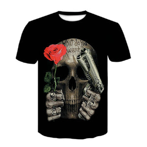3D Printed Skull Floral T-shirt Black Short-sleeved Roses Fashion  Tees Tops Punk Rock Style Cotton Man t shirt Plus Size Large  MartLion
