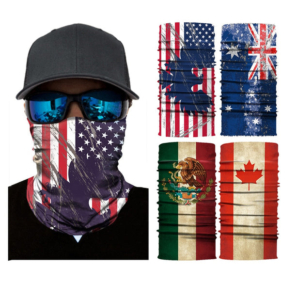 3D Scarf Balaclava National Flag Seamless Bandana Buffs Cycling Motorcycle Neck Warmer Mexico Spain Germany USA Canada Face Mask