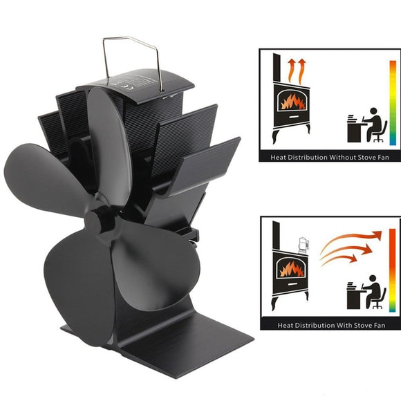 4 Blades Heat Powered Stove Fan Log Wood Burner Ecofan Quiet Black Home Fireplace Fan Efficient Heat Distribution  MartLion
