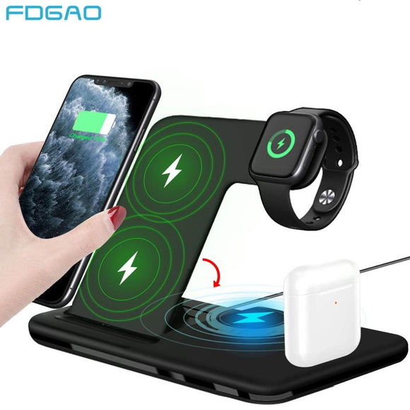 4 in 1 Qi 15W Fast Wireless Charger For iPhone 8 X XR XS 11 Pro Max 3 in 1 Wireless Charging Station For Apple Watch Airpods Pro  MartLion.com