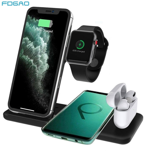 4 in 1 Qi Wireless Charger Dock Station For iPhone 12 11 XS XR X 8 15W Fast Charging Stand For Apple Watch 6 5 4 3 2 Airpods Pro