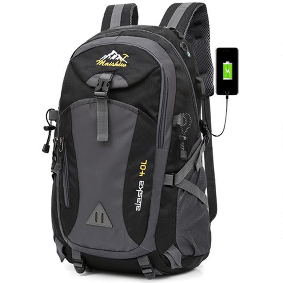 40L Waterproof USB charging Climbing Unisex male travel men Backpack men Outdoor Sports Camping Hiking Backpack School Bag Pack  MartLion.com