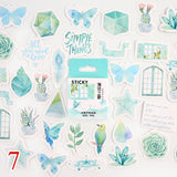 45pcs/box Stationery Stickers Vaporwave DIY Planet Sticky Paper Kawaii Moon Plants Stickers For Decoration Diary Scrapbooking  MartLion.com
