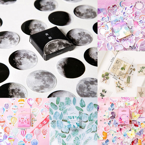 45pcs/box Stationery Stickers Vaporwave DIY Planet Sticky Paper Kawaii Moon Plants Stickers For Decoration Diary Scrapbooking - Mart Lion  Best shopping website