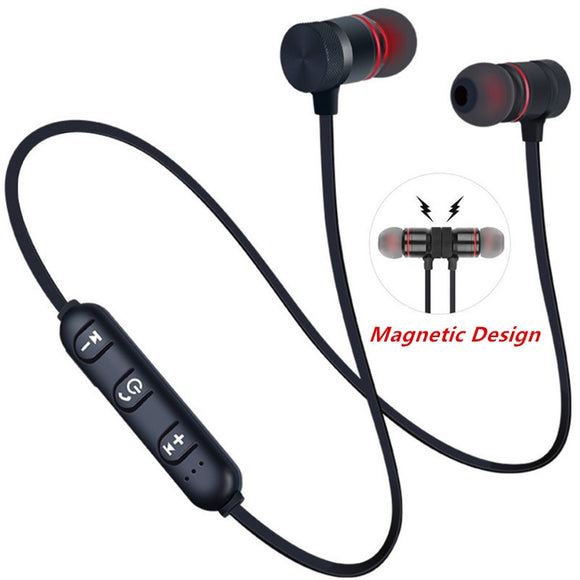 5.0 Bluetooth Earphone Sports Neckband Magnetic Wireless earphones Stereo Earbuds Music Metal Headphones With Mic For All Phones  MartLion