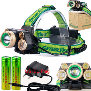 5 LED Headlamps 20000 Lumens High Power LED Headlight T6+4Q5 Camping Head Torch Zoom 4 Modes Head Lantern 2x18650 Frontal Lamp  MartLion