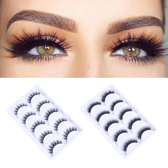 5 Pairs Handmade 3D Fake Eyelashes Flase Eyelashes Reusable Mink Hair Thick Eye Lashes for Natural Look Women Makeup Tools  MartLion