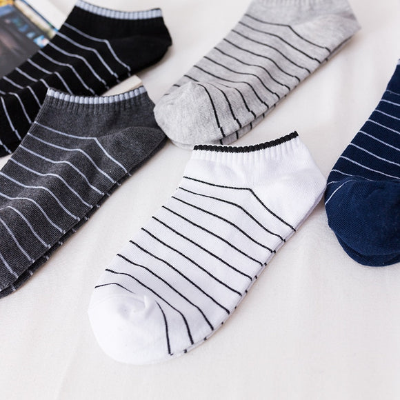5 pairs lot New Summer Men Socks Short Ankle Socks Cotton College Style Lines Black Casual Sock Size 39-43  MartLion