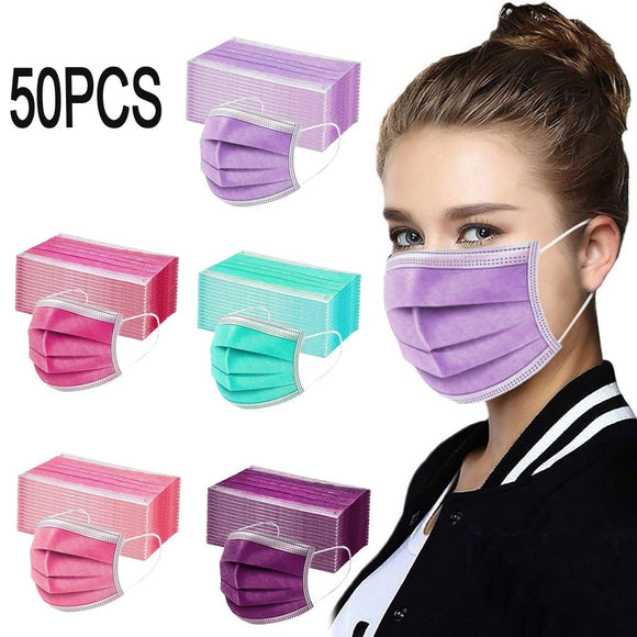 50PC Pink Purple Green Disposable Face Mask Red Mouth Masks Dustproof Personal Mask 3ply Ear Loop Anti-PM2.5 Masks mascarilla  MartLion
