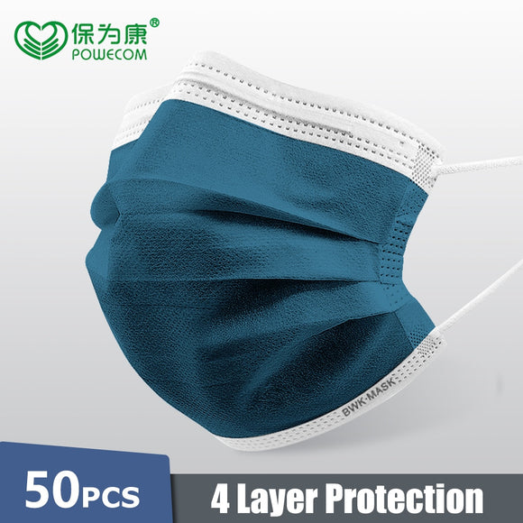 50Pcs 4-Layer POWECOM Disposable Mask Activated Carbon Mask Protective Face Mask For Adult Kids Respirator Masks cubrebocas