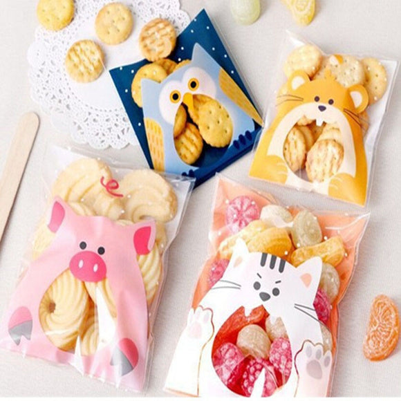 50Pcs Cute Cartoon Animals Cookie Candy Bag Self-Adhesive Plastic Bag For Wedding Birthday Party Biscuits Baking Gift Packaging  MartLion
