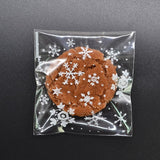 50Pcs Snowflake Christmas Plastic Candy Cookie Biscuits Snack Packaging Bag Adhesive Gift Bags for Home Wedding Birthday Party  MartLion.com