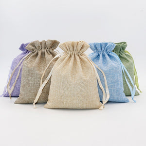 5PCS Linen Cotton Drawstring Gift Pouch Bag Lavender Green Natural Color Adjustable Jewelry Packing Bags  MartLion