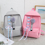5pcs/set School Bag for Teenage Girls Black Backpack Schoolbag Women Canvas Backpack Student Bag Female Lace Bow Bundle Book Bag