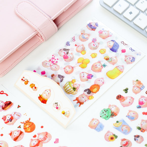 6 sheets DIY Colorful Rabbits kawaii Stickers Diary Planner Journal Note Diary Paper Scrapbooking Albums PhotoTag - Mart Lion  Best shopping website