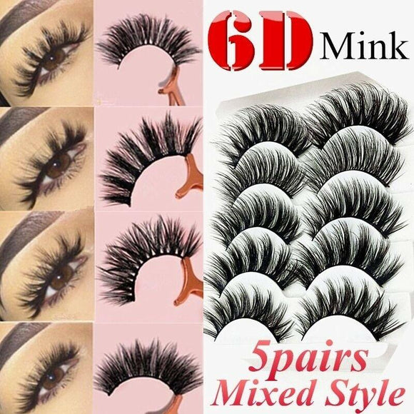 6D Mixed Style Mink Lashes Mink False Eyelashes Wispy Fluffy Natural Long Strip Cruelty Fake Eyelash Extension Supplies Makeup  MartLion