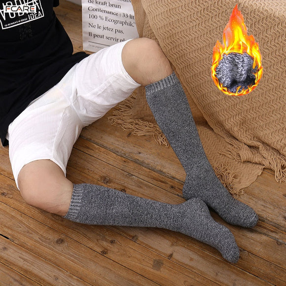 6PCS=3 pairs 39-45 Men's new winter  velvet warm winter knee high long leg terry socks Cotton Thicken cover calf socks