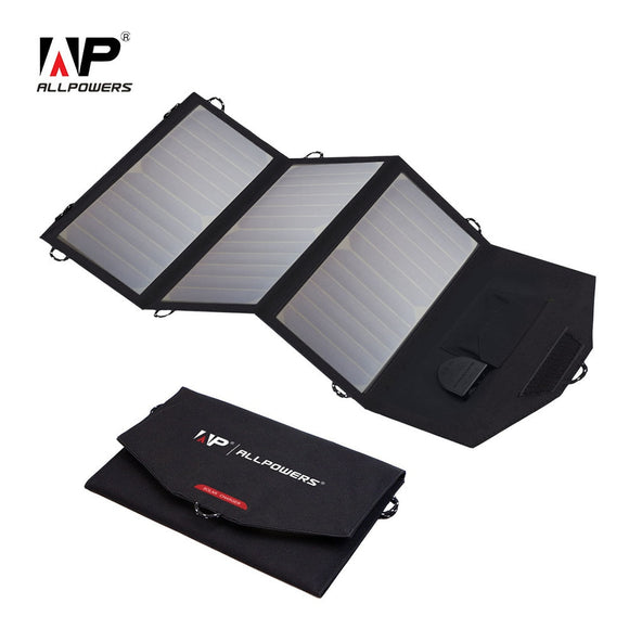 ALLPOWERS 18V 21W Solar Charger Panel Waterproof Foldable Solar Power Bank for 12v Car Battery Mobile Phone Outdoor Hiking - Mart Lion