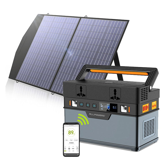 ALLPOWERS Solar Generator 666WH/186200mAh Solar Portable PowerStation With 18V100W Foldable Solar Panel MC4 Anderson For Camping - Mart Lion
