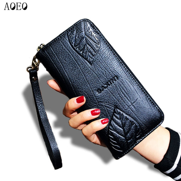 AOEO Ladies Embossing Wallet Female With Genuine Leather Wristlet Card & Id Holders Money Purse For Womens Wallets And Purses - Mart Lion  Best shopping website
