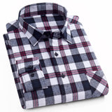 AOLIWEN Men's Fashion Plaid Long Sleeve Shirt 100% cotton comfortable multi-color summer new fashion men shirt Low price M-5XL  MartLion