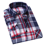 AOLIWEN2020 New Fashion blouse shirt Men's shirt brand men And Purple Plaid Printing Loose For Male Long Shirt Clothes SizeM-5Xl  MartLion