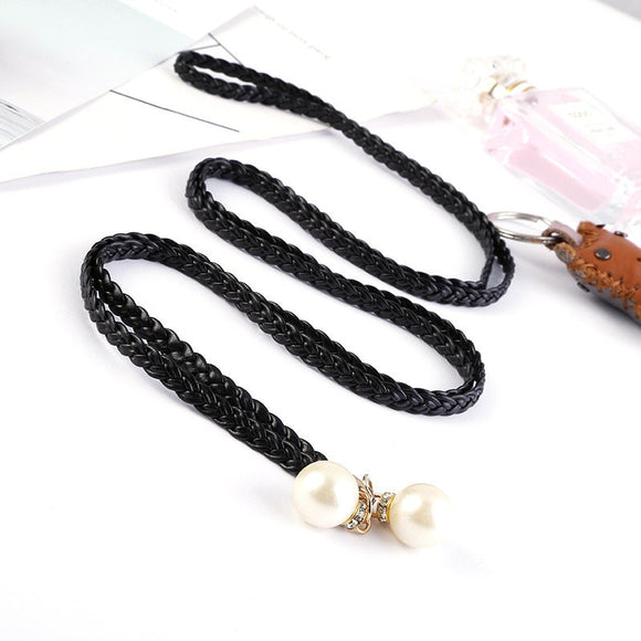AWAYTR New Ladies Fashion Women Belt Knotted Waist Chain Dress Woven Waist Rope Female Decorative Pearl Small Belt 140*0.5cm  MartLion