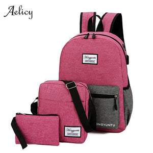 Aelicy USB Charging Canvas Backpack 3 Pcs/set Women School Backpacks Schoolbag For Teenagers Man Student Book Bag Boys Satchel