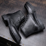 All-match Cowhide zipper cowboy boots mens High Quality Genuine Leather chelsea boots men autumn winter British retro men shoes  MartLion