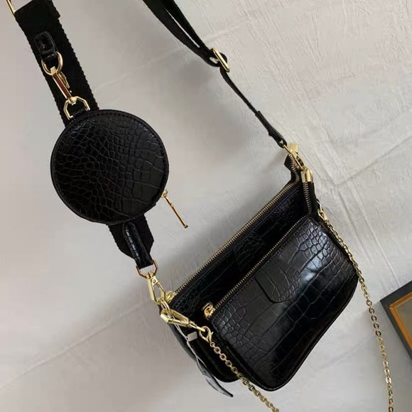Alligator print women shoulder bag luxury designer wide strap Crossbody bag chain Sling bag pu leather ladies 3 bag set handbag
