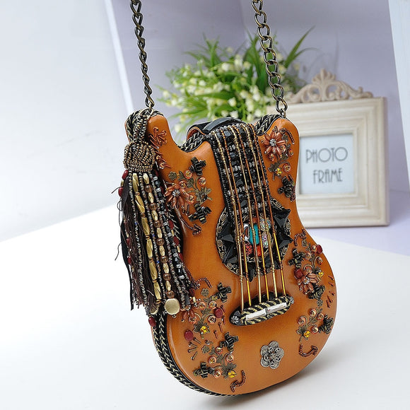 Amberler Fashion Women Shoulder Bag High Quality Guitar Design Ladies Chain Crossbody Bags Vintage 2020 Female Messenger Bags