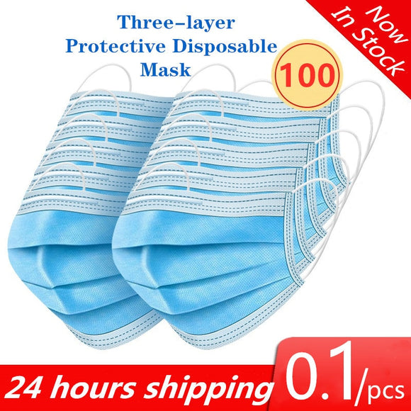 Anti Virus Face Masks Disposable safe Breathable Dustproof Masks 3 ply nonwoven fabric