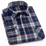 Aoliwen 2020 100%cotton palid shirt men flannel high quality spring autumn long sleeve shirt button down slim fit casual shirt  MartLion