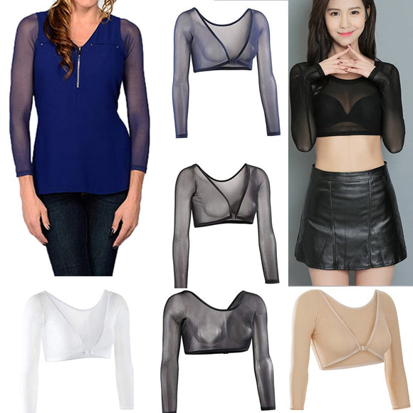Arm Shaper Women Both Side Plus Size Mesh Seamless Silm Shapewear Crop Top Slimming Upper Shirt Blouses Black White Blue Skin  MartLion.com