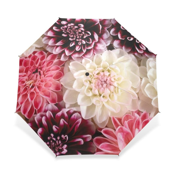 Automatic Folding Flower Umbrella Rain Women Three Folding Customized Umbrella Female Rain Tools Unique Parasol Umbrella  MartLion.com