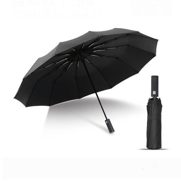 Automatic Folding Umbrella Business Men 12K Parasol Windproof Women Solid Color Double Waterproof Umbrella Amour Parapluie  MartLion.com