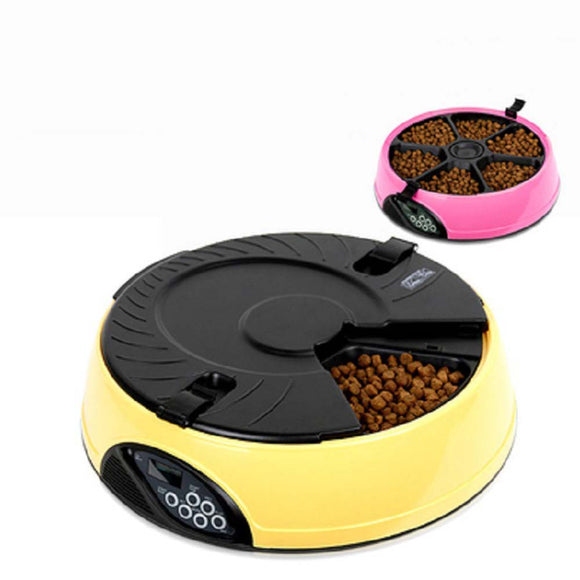 Automatic Pet Feeder Bowl 6 Meals Cat or Dog Holiday Auto Dispencer Bowl LCD display with Voice Recorder  MartLion.com