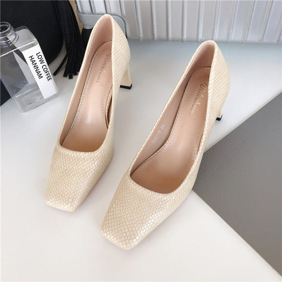 Autumn Fashion Women Pumps Snake Printed Ladies Thick High Heels Square Toe Pumps Shallow Slip On Office Work Shoes Woman 39