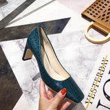 Autumn Spring Women Pumps Square Toe Chunky High Heels PU Snake Printed Leather Fashion Daily Shoes Office Work Pumps 4 Colors  MartLion